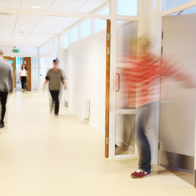 """Hospital corridor in busy uk department"" stock image"
