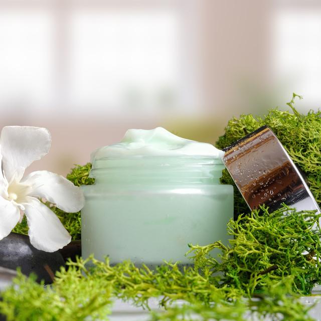"""Cream jar algae vertical view"" stock image"