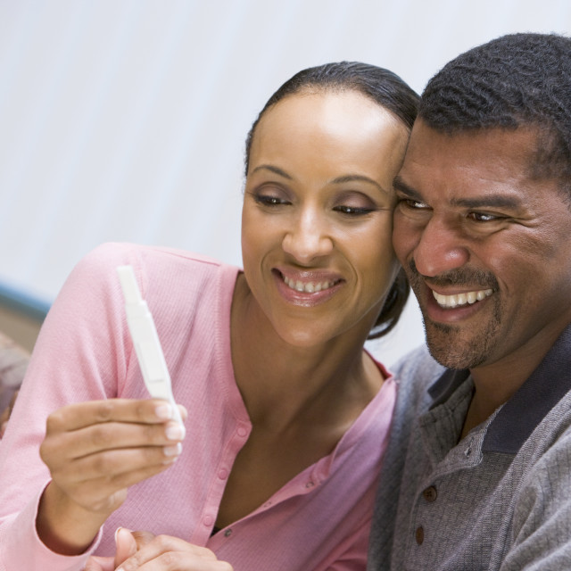 """""""Couple with home pregnancy test"""" stock image"""