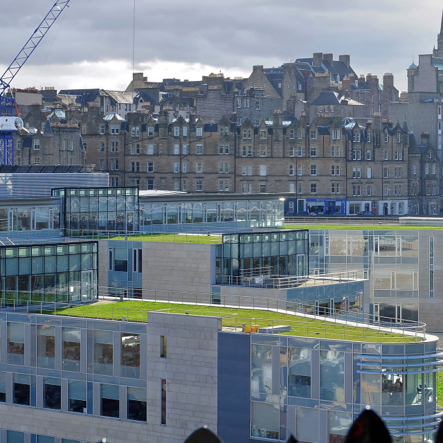 """Edinburgh skyline including Waverley Court"" stock image"