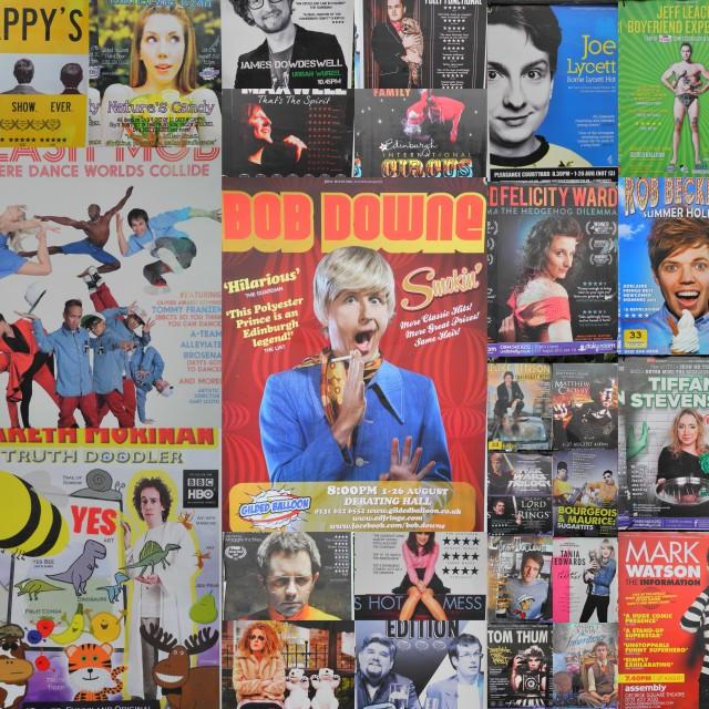 """Edinburgh Fringe Festival collage of fliers, August 2013"" stock image"