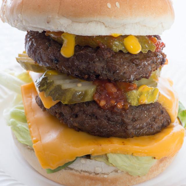 """Half pound Cheeseburger"" stock image"