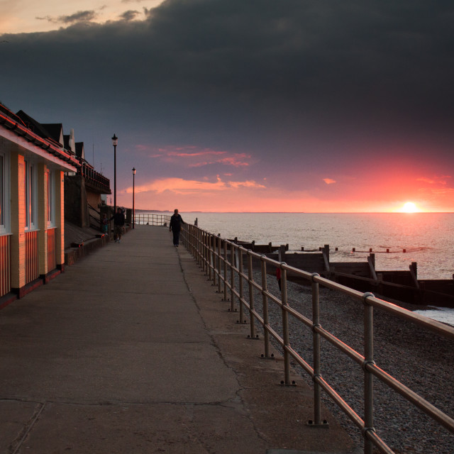 """Sunset at Sheringham"" stock image"