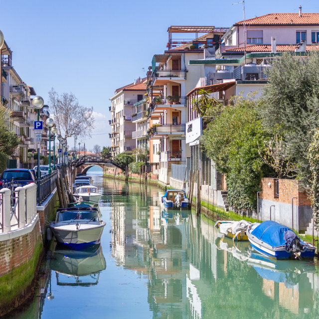 """""""Quiet canal, Lido"""" stock image"""
