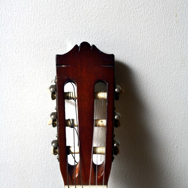 """head of a classical acoustic guitar"" stock image"