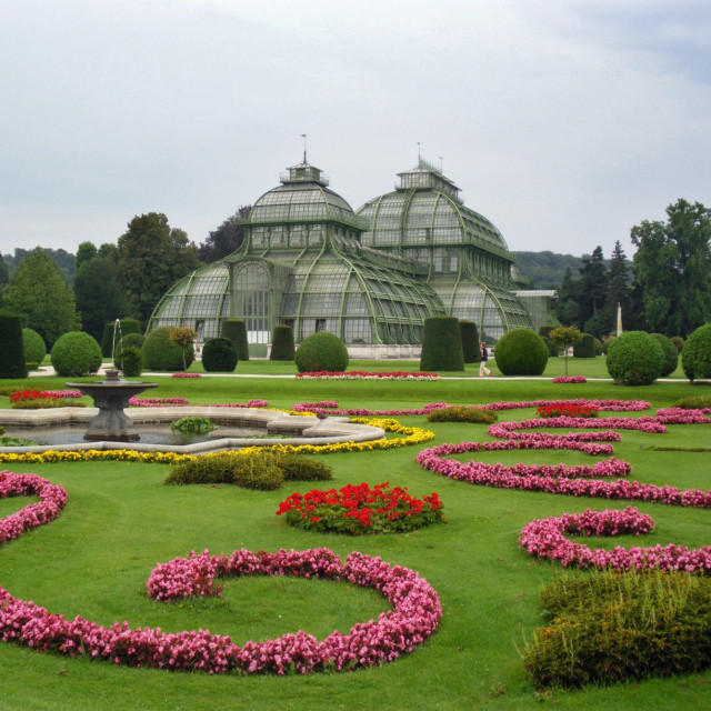 """Vienna, gardens at Schonbrunn Palace"" stock image"