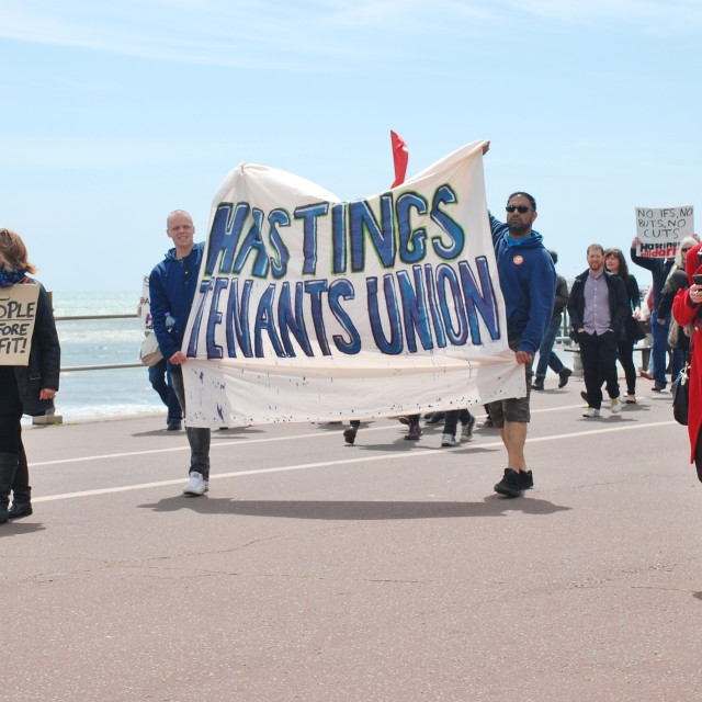 """""""Anti Austerity march, Hastings"""" stock image"""