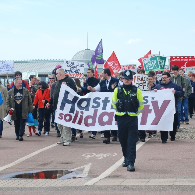 """""""Hastings Austerity march"""" stock image"""
