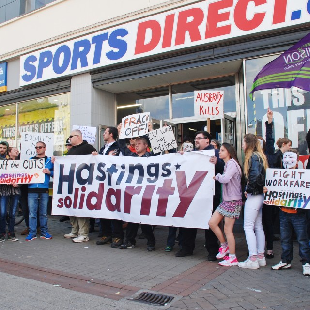 """""""Sports Direct protest, Hastings"""" stock image"""