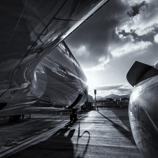 """Airplane reflection"" stock image"
