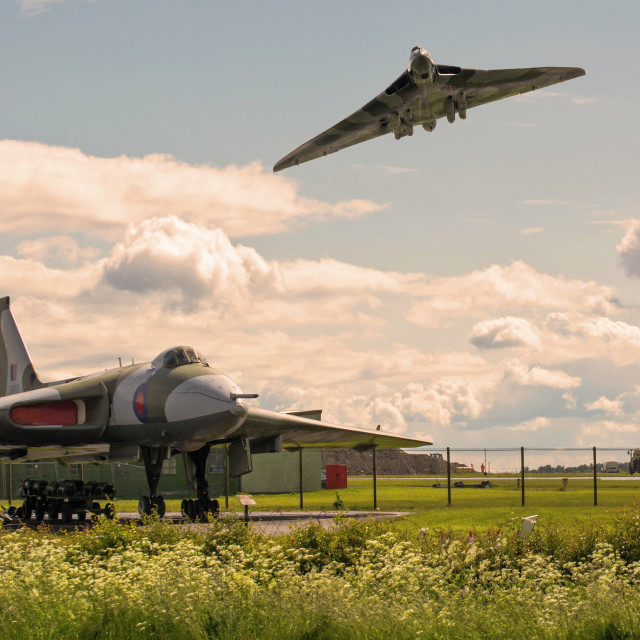 """AVRO Vulcan XH558 flying over AVRO Vulcan XM607"" stock image"