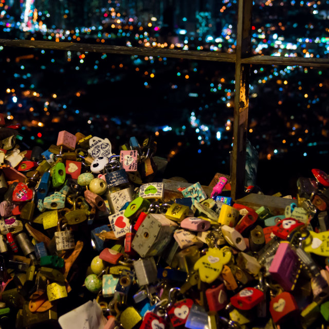 """Padlocks of Love - South Korea"" stock image"