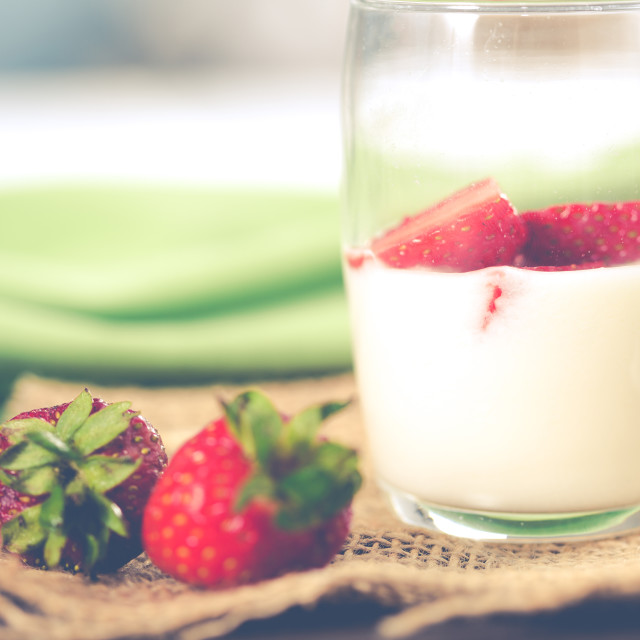 """Yogurt with strawberries"" stock image"