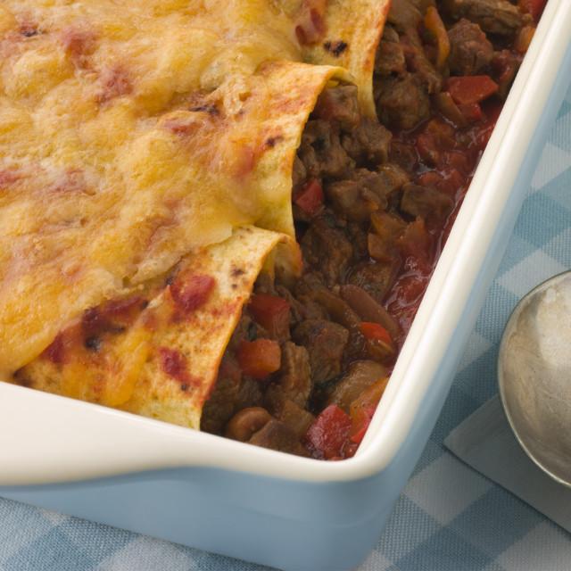 """Dish of Beef Enchiladas"" stock image"