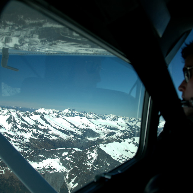 """""""Plane ride over New Zealand's Southern Alps"""" stock image"""
