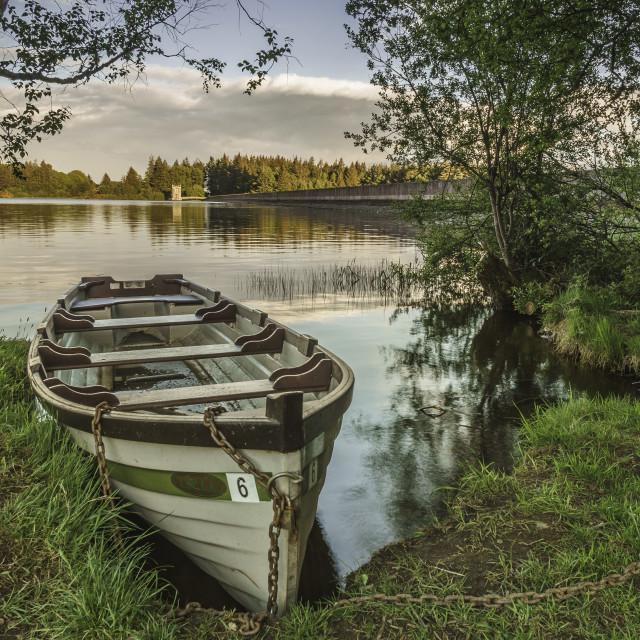 """Fishing boat at the Lakeside."" stock image"