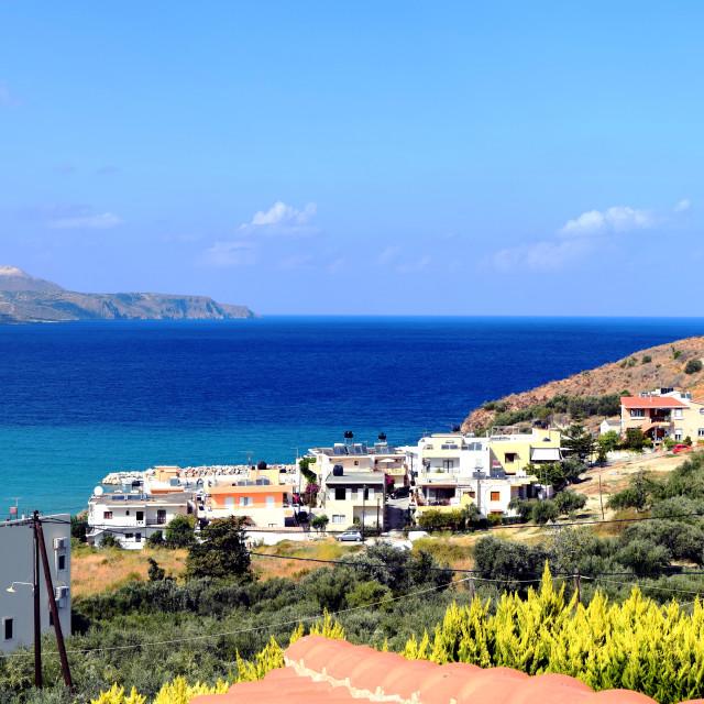 """Overlooking Greek Village"" stock image"