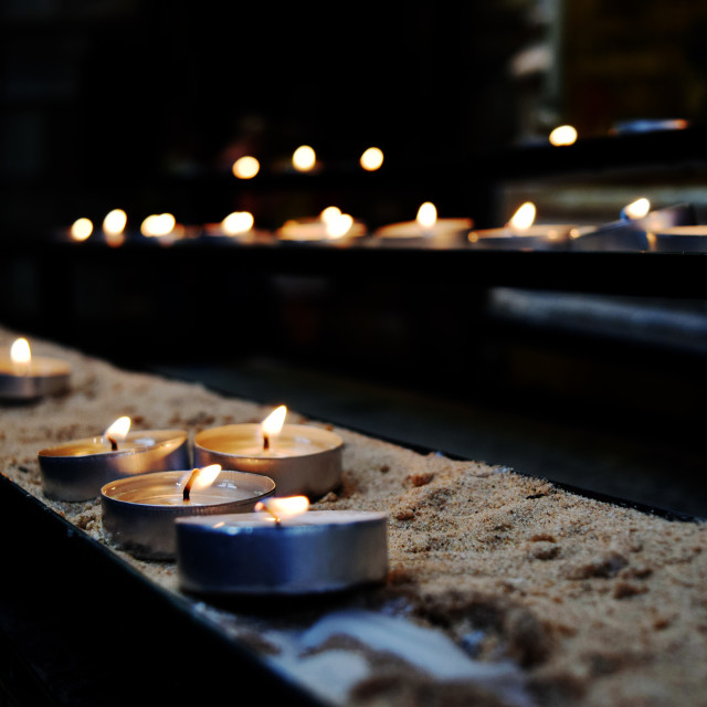 """""""Lit Candles"""" stock image"""