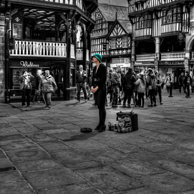 """""""Busker in Chester"""" stock image"""