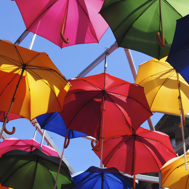 """Umbrellas and Sky"" stock image"