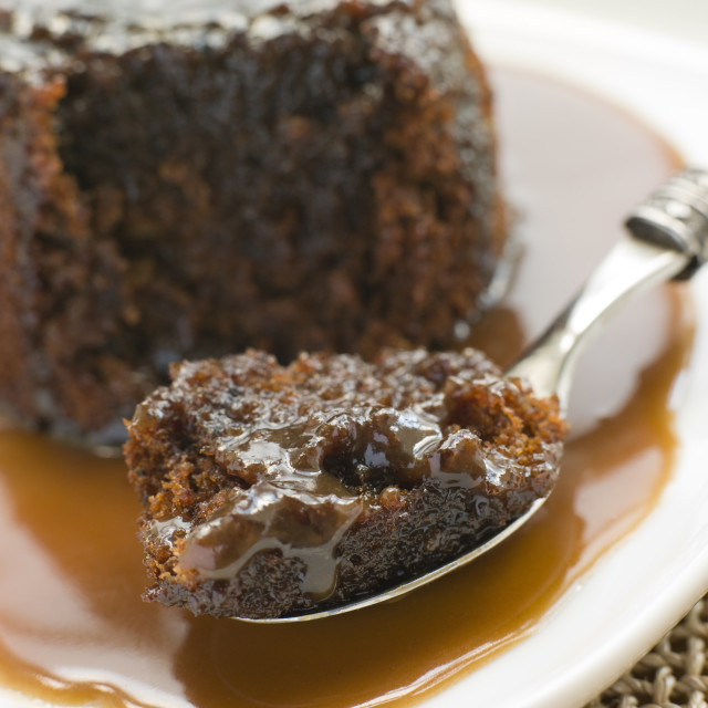 """""""Sticky Toffee Pudding with Toffee Sauce"""" stock image"""