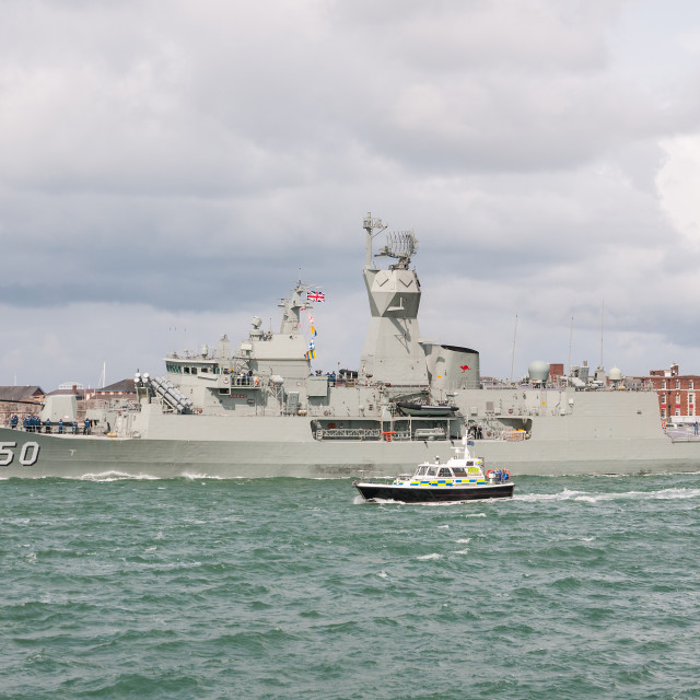 """HMAS Anzac (FFH150) departing Portsmouth, UK after a courtesy visit."" stock image"