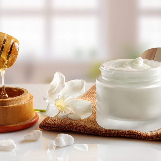 """Honey moisturizer front view with background windows"" stock image"
