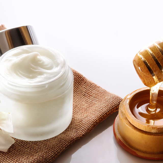 """Honey moisturizer top view"" stock image"