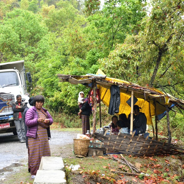 """Makeshift Tea-stall at a roadblock, Bhutan"" stock image"