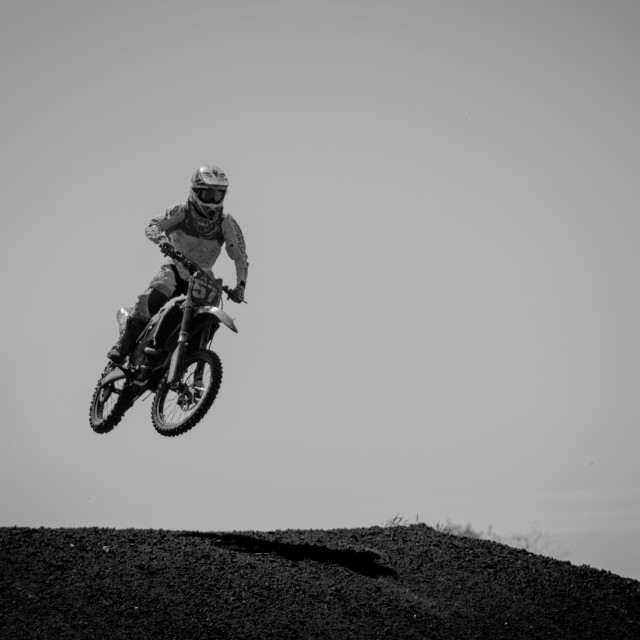 """Black and White Motocross"" stock image"