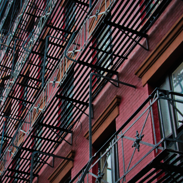 """Fire escapes, New York City"" stock image"