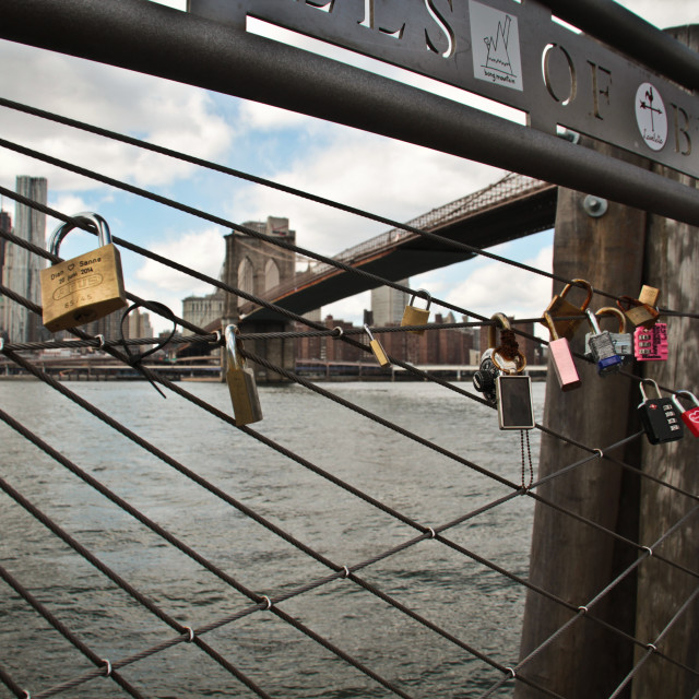 """Love locks on Brooklyn Bridge, Dumbo, New York City"" stock image"