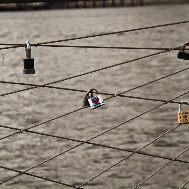"""Love locks on Brooklyn Bridge"" stock image"