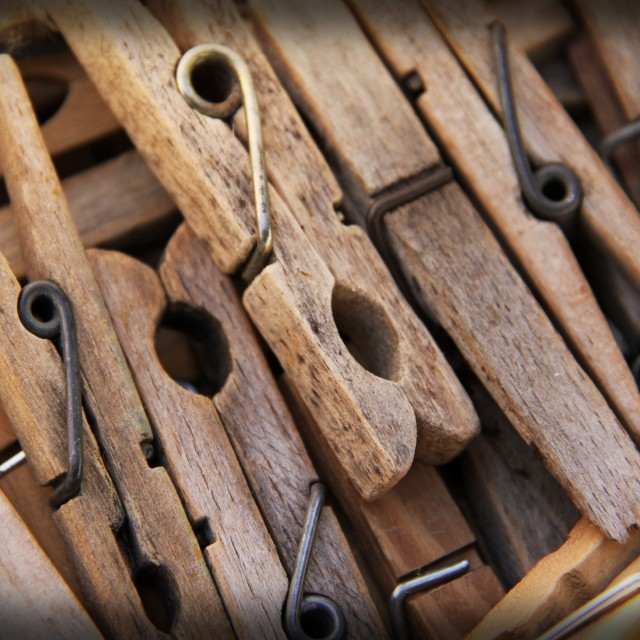"""""""Well Used Pegs"""" stock image"""