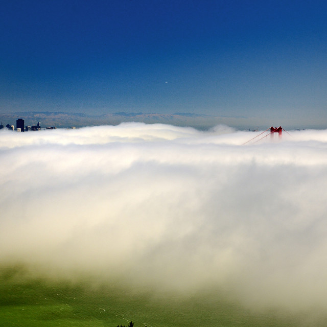 """Fog over San Francisco Bay"" stock image"