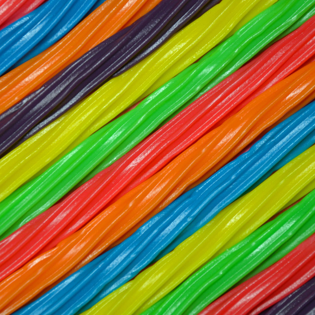 """Rainbow colored licorice background"" stock image"