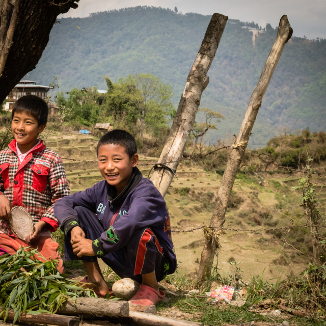 """bhutan's happy kids"" stock image"