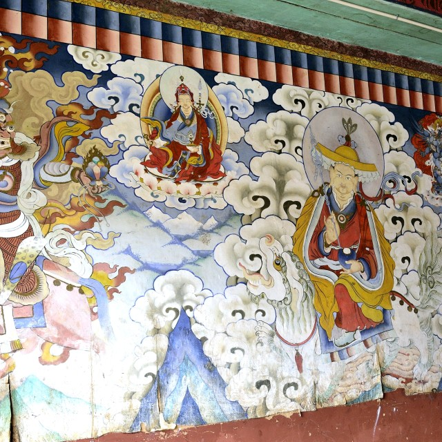 """Wall art in Gangtey Monastery, Bhutan"" stock image"