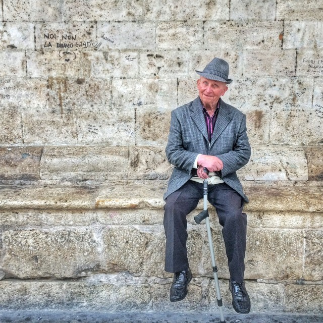 """Stylish old Italian man"" stock image"