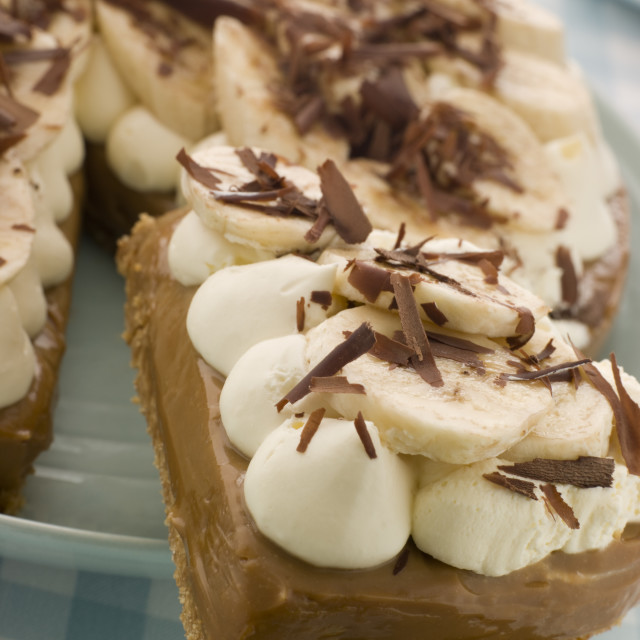 """""""Banoffee Pie With A Slice Being Taken"""" stock image"""