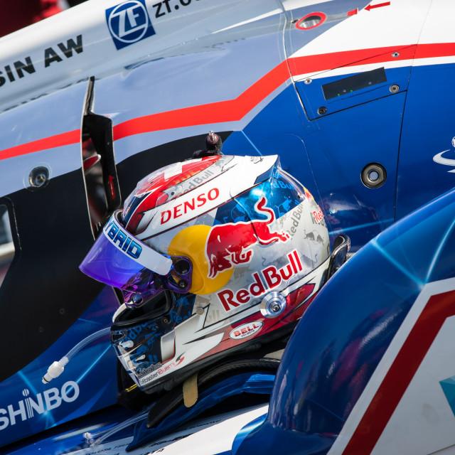 """Race helmet on car"" stock image"
