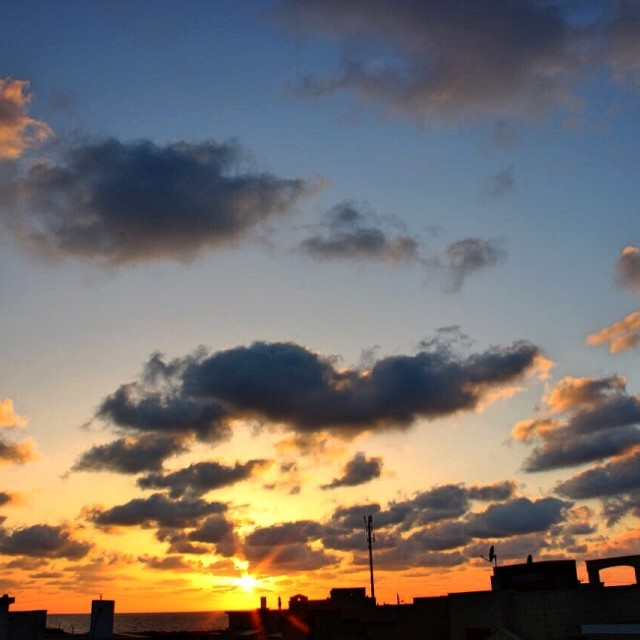 """""""Sunset from a roof"""" stock image"""