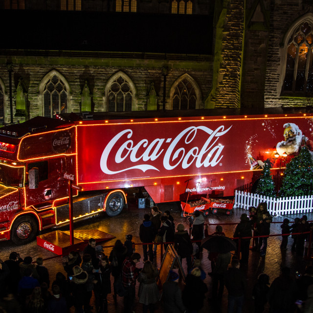 """Coca Cola christmas truck"" stock image"