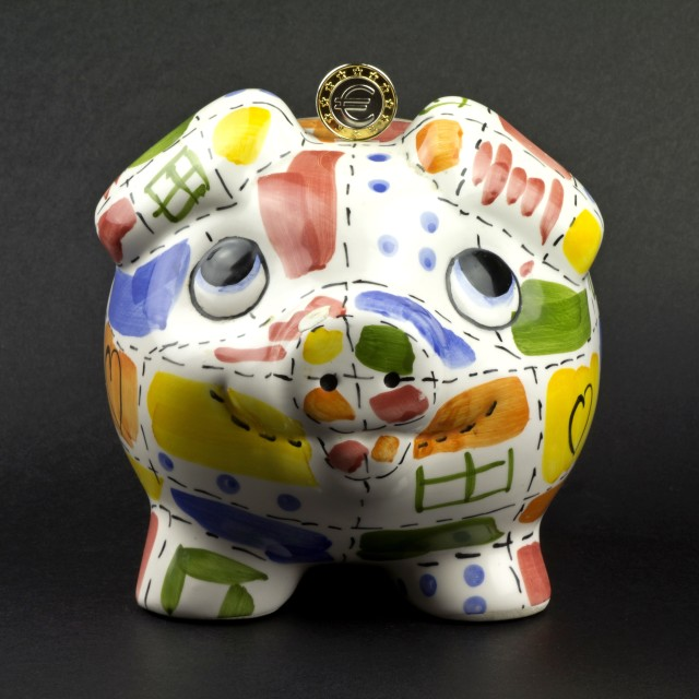 """Piggy bank with euro"" stock image"