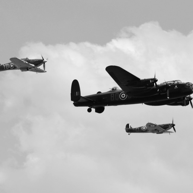 """""""Lancaster, Spitfire and Hurricane"""" stock image"""