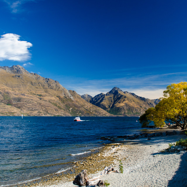 """Lake Wakatipu in Autumn"" stock image"