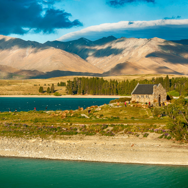 """Church of Good Shepherd, Lake Tekapo, New Zealand"" stock image"