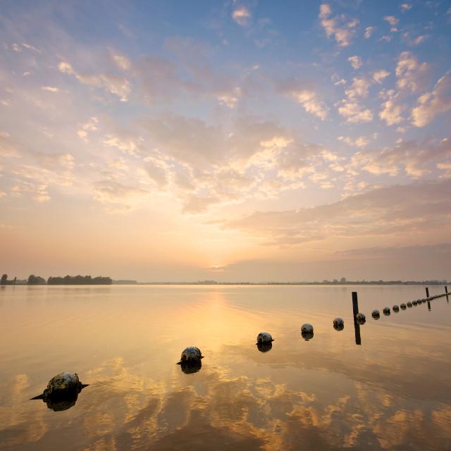 """Sunset over Valkenburgse Meer"" stock image"