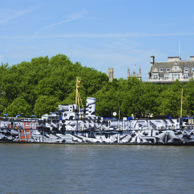 """HMS President as Dazzle Ship"" stock image"