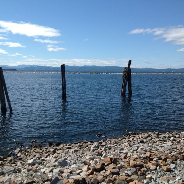 """Lake Champlain pilings"" stock image"